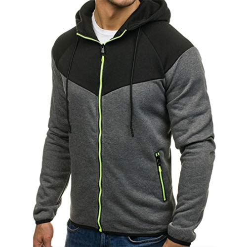 YJNH Men's Outwear Hooded Color Matching Comfortable Sweatshirt Casual Long Sleeve Slim Fit Sport Casual Daily Wear Zip Hoodie Jacket Spring, Autumn and Winter New Travelling Walking Camping 3XL