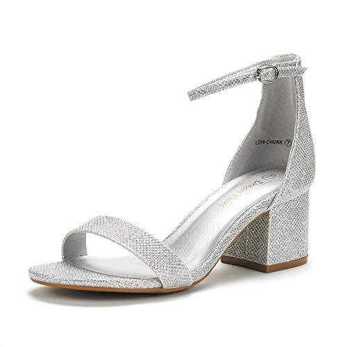 DREAM PAIRS Women's Low-Chunk Silver Glitter Low Heel Pump Sandals - 9 M US