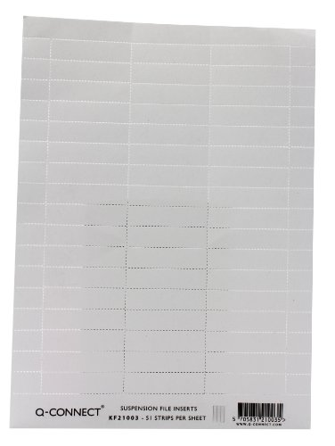Q-Connect KF21003 Suspension File Label Insert White, single sheet of 51 strips