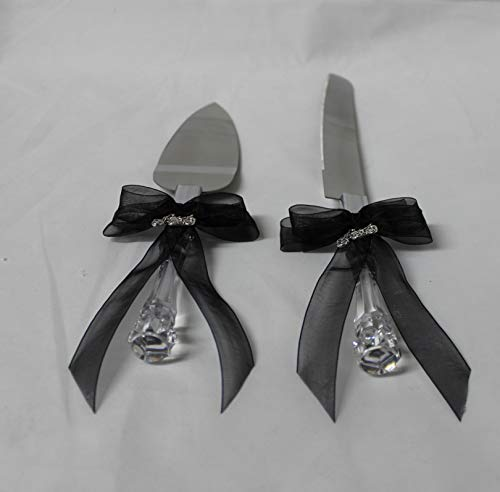 Wedding party reception Cake Knife & Server Set Biker Motorcycle Black bows