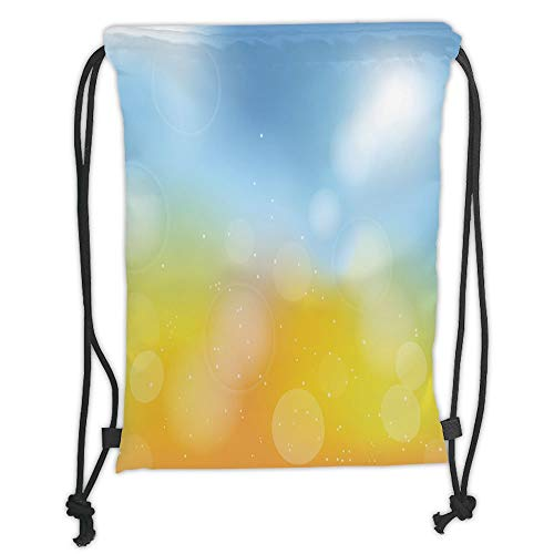 Fevthmii Drawstring Backpacks Bags,Yellow and Blue,Gradient Toned Autumn Season Frame in Pastel with Hazy Effects,Marigold Light Blue Soft Satin,5 Liter Capacity,Adjustable String Closure,T