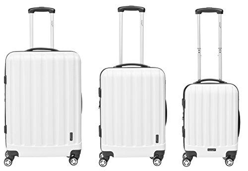 Packenger Kofferset - Velvet - 3-teilig (M, L & XL), Weiß, 4 Rollen, Koffer mit TSA- Schloss und Erweiterungsfach, Hartschalenkoffer (ABS)