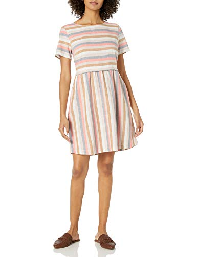 Goodthreads Washed Linen Blend Short-Sleeve Fit-and-Flare Dress Kleid, Multi-Streifen, L