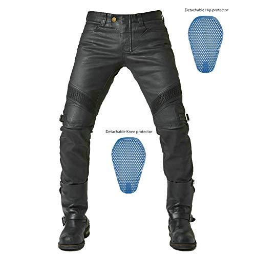 JlLianT Pantalon Moto Jeans De Moto Hommes Et Femmes Enduits Rétro Pantalon D'Équitation De Moto Pantalon De Course Étanche Ce Équipement De Protection