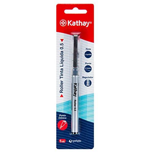Kathay 86210610. Bolígrafo de Tinta Líquida, Color Negro, Punta Cónica 0,5mm