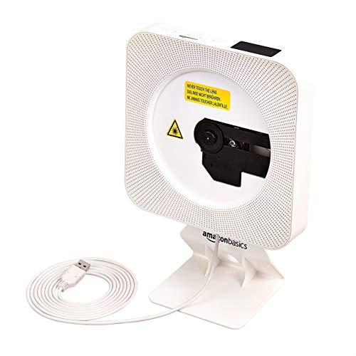 Amazon Basics - Reproductor portátil de CD estéreo para montar en pared, blanco