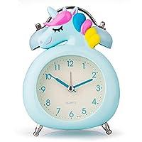 Hodoo 目覚まし時計 置き時計 電池式 明かり 針時計 アラーム (ブルーユニコーン,ベル )