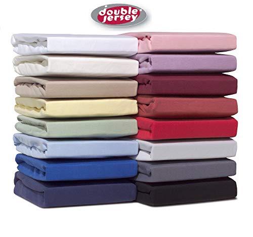 Double Jersey - Spannbettlaken 100% Baumwolle Jersey-Stretch, Ultra Weich und Bügelfrei mit bis zu 30cm Stehghöhe, 180x200x30 Weiss
