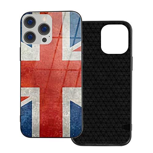 Carcasa de cristal templado con la bandera nacional del Reino Unido vintage retro para el teléfono móvil de la bandera británica y suave parachoques de TPU compatible con iPhone 12/iPhone 12 Pro