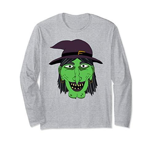 Graphic Green Hexengesicht Halloween Easy Kostüm Langarmshirt