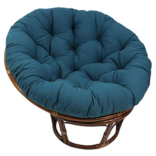 MISC 52 Inch Indigo Blue Papasan Cushion Only Cotton Rounded Tufted Oversized Chair Pad Floor Pillow Use Plush Indoor Thick Comfy Solid Color, Polyester