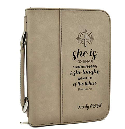 Custom Bible Cover - Proverbs 31:25 – Tan Bible Case with Black Engraving