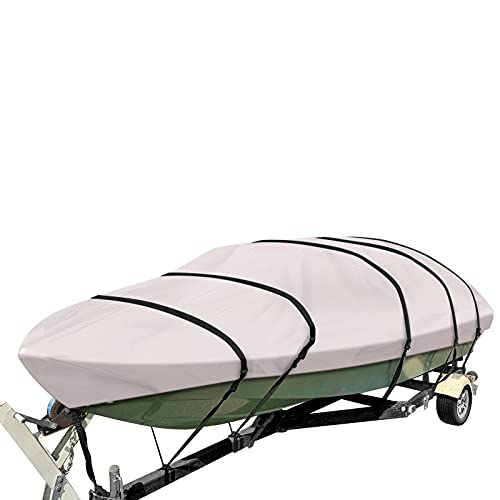 PrimeShield Boat Cover, Waterproof 600D Oxford Marine Grade Trailerable Runabout Boat Covers, Heavy Duty 13/15/16/17/18/19/20/22 ft fits V-Hull Pro-Style Bass Boats with Tightening Strap