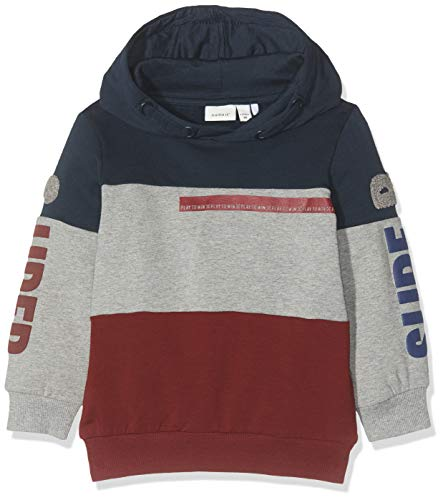 NAME IT Nmmnilas LS Sweat WH BRU Box Capucha, Multicolor (Cabernet Cabernet), 104 para Niños