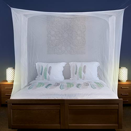 Universal Backpackers Mosquito Net for Single to King-Sized Beds – 2 Side Openings & 6 Hanging Loops – Decorative Rectangular Shape for Home & Travel – Bed Canopy Hanging Kit & Carrying Bag Included