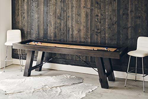 Hanover Indoor Full Size Butcher Block Shuffleboard Table, Brown