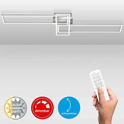 Briloner Leuchten - LED Deckenleuchte, Deckenlampe dimmbar, inkl. Fernbedienung, inkl. Farbtemperatursteuerung, inkl. Nachtlichtfunktion und Timer, Chrom-Alu, 1100 x 350 x 100mm (LxBxH)