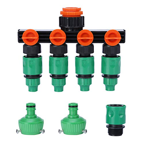 蛇口 コネクター 四分岐 ワンタッチ 蛇口ニップルとホースジョイント付き 散水チューブ 散水用具