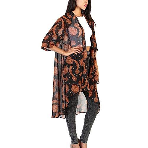 HaiDean Cardigan Dames voorjaar herfst coat bedrukt 3/4 mouwen patroon onregelmatig tran
