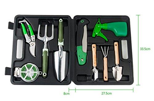 Hongye Taja 9 pièces Mini outils de jardin extérieur avec étui de rangement Boîte à outils en plastique Pot Outil
