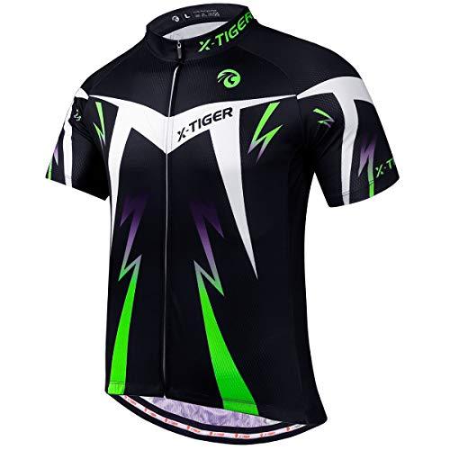 X-TIGER Herren-Radtrikots, kurzes T-Shirt, Fahhradtrikot MTB Rennrad Trikot Kurzarm Fahrradbekleidung für Männer (Grün, L)
