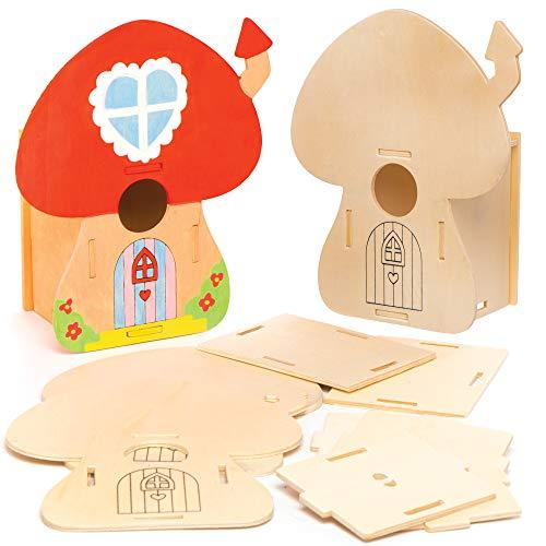 Kit Casette in Legno per Uccellini Baker Ross (confezione da 2)- Modello di casa a forma di fungo da costruire e decorare per bambini