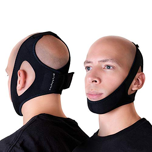 EarlyAdopters Anti-Snoring Chin Strap Device | Adjustable Sleep Aid Snore Solution Relief Antisnore Head Band for Men and Women (Large)