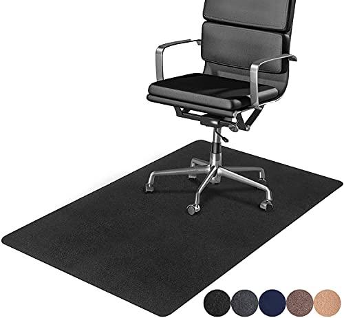DELAM Office Chair Mat for Hardwood Floor & Tile Floor, Under Desk Chair Mats for Rolling Chair, Computer Chair Mat for Gaming, Large Anti-Slip Floor Protector Rug, Not for Carpet, 47 x35 , Black