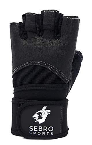 SEBRO SPORTS Trainingshandschuhe für Damen und Herren für Kraftsport und Fitness -aus Leder - Für Schutz und Griffkraft im Training, schwarz, L