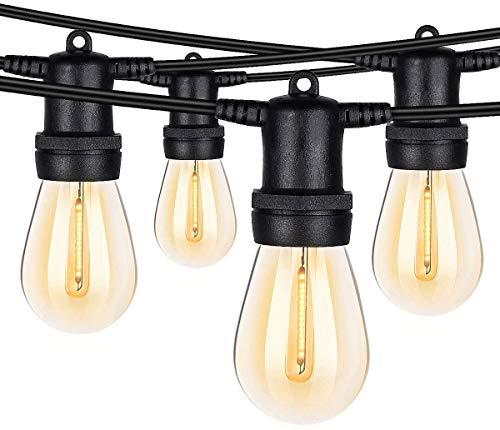 Outdoor Lichterketten, 48FT wasserdichte LED-Lichterkette 15 Hängesockel Edison Vintage Bulbs 2700K Weiche weiße Lichterkette Hochleistungs-dekorative Terrassenleuchten für Backyard Bistro Cafe Party