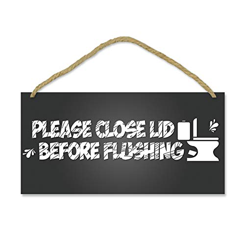 IARTTOP Bathroom Wood Sign-12.5x25cm,Toilet Warning Sign Wooden Plaque Hanging Wall Art,Please Close Lid Before Flushing Hanging Washroom Bathroom Toilet Home Decoration