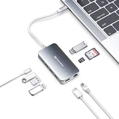 USB C Hub, 9 in 1 USB C Adapter with 90W Power Delivery,4K USB C to HDMI, Ethernet Port, 4 USB 3.0 Ports, Micro SD/TF Card Reader, for MacBook/Pro/Air 2016/2017/2018, ChromeBook, XPS, and More