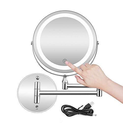 FHISD Espejo de Maquillaje de Pared 5X con Pantalla táctil de Espejo de baño de Pared de Aumento de Acero Inoxidable Regulable/USB y batería AAA de Doble Fuente
