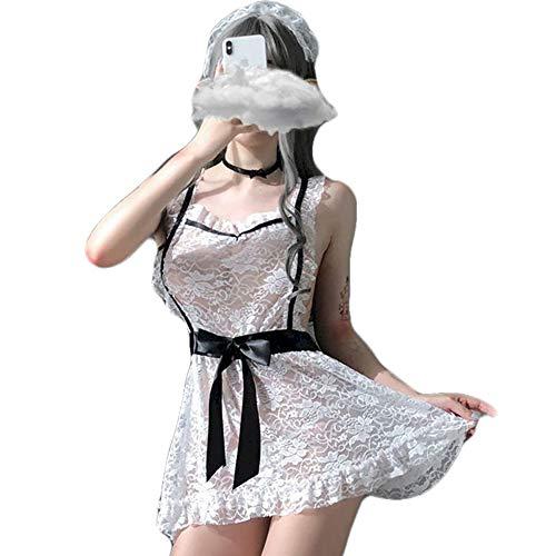JasmyGirls Disfraz de lencería sexy para mujer de talla grande para cosplay de mucama francesa de encaje travieso delantal de anime de juego de rol