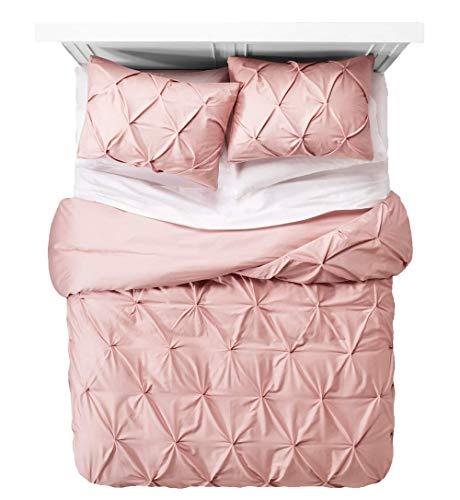 Pintuck Juego de cama con funda de almohada | Pinch plisado doble, individual y king | Fácil cuidado de algodón rico | Funda de edredón súper suave (rosa suave, individual)
