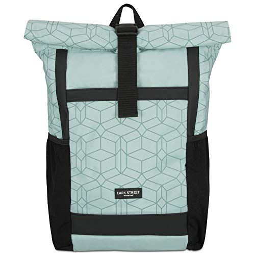 Roll Top Backpack Womens & Mens Mint Pattern- LARK STREET No2 Daypack Made from Recycled PET Bottles, Rucksack for Leisure, College & School - Girls Bookbag Waterproof Bag 15.6 Inch Laptop Compartment