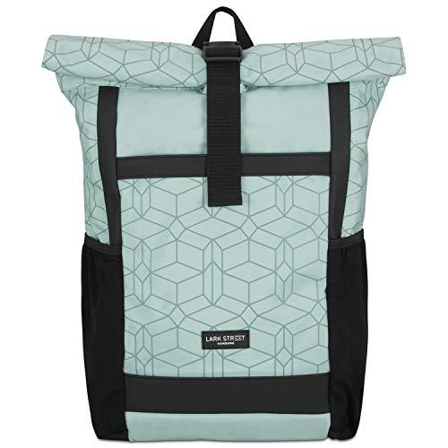 LARK STREET Rolltop Rucksack Damen Mint gemustert No 2 Tagesrucksack aus recycelten PET-Flaschen - Backpack für Freizeit, Uni & Schule - Schulrucksack Teenager Wasserabweisend & Laptopfach 15,6 Zoll