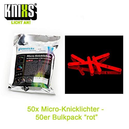 Micro / Mini Knicklichter Bulk Pack - 50 Stück/Tüte - Rot Leuchtend für Party / Angelsport (Bissanzeiger) / Luftballons / als Dekoration für Ketten, Ohringe oder Haarschmuck