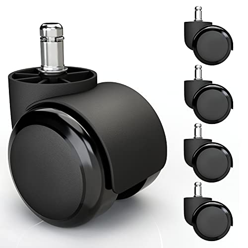 5x Hartbodenrollen 10mm mit PVC Überzug leise & kratzerfrei - Universal Schreibtischstuhl Bürostuhl Rollen ideal für Parkett, Laminat, Fliesen & Steinboden (Schwarz)