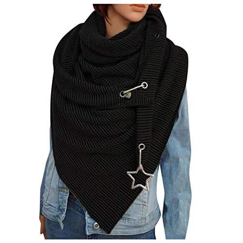 MOZATE Scarf Women Solid Color ButtonTriangle Scarf Casual Autumn Winter Scarf Stripes Neckerchiefs Soft Scarf