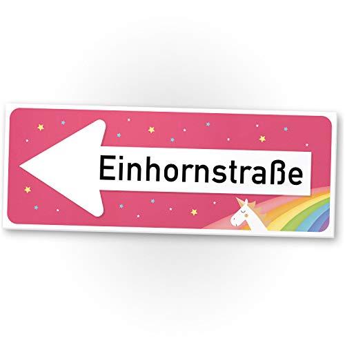 Einhorn Kunststoff Schild - Einhornstraße (40 x 15cm), Süße Deko - Wanddeko, Türschild Mädels, Mädchen-Zimmer, Geschenkidee Geburtstagsgeschenk - Kleines, Lustiges Geschenk für Sie - beste Freundin