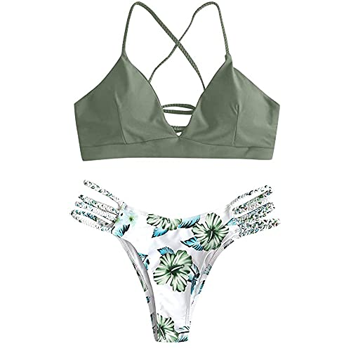 Yutdeng Mujer Bikini Conjuntos Sexy Triángulo Bañador Push Up Traje De Baño Ajustable con Tirantes Cruzados Clásico Brasileño Tanga 2 Piezas Verano Adecuado Viajes Playa Natacion