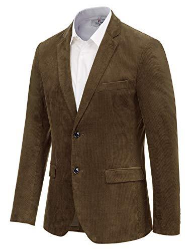 Mens Casual Slim Fit 2 Button Corduroy Sport Jacket Brown Blazer