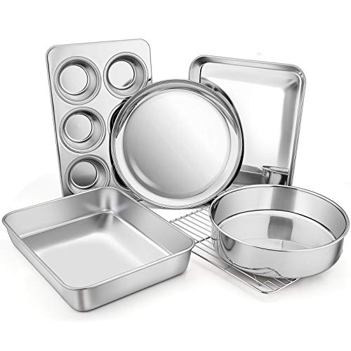 Toaster Oven Bakeware Set, E-far 6-Piece Stainless Steel Small Baking Pan Set, Include Cake Brownie Pan/Cookie Sheet with Rack/Muffin Tin/Pizza Pan, Non-Toxic & Healthy, Easy Clean & Dishwasher Safe