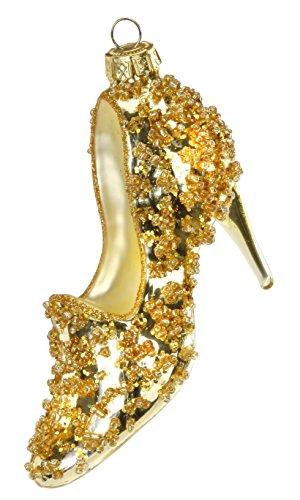 Inge-glas High Heels Gold, 13 cm, Christbaumanhänger, Original Thüringen, mundgeblasen, handbemalt