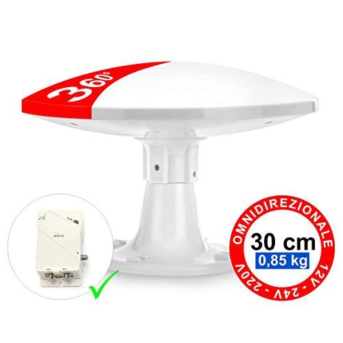 Antena Omnidireccional Terrestre para Exterior - 4G LTE DVB-T/T2 - 12/24/220V - Impermeable, Kit completo de cables y Amplificador