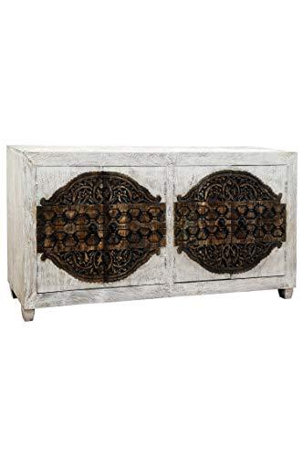 Oosterse commode Sideboard Aswa 180cm Shabby Wit | Orient Vintage commodekast oosters met de hand versierd | Indiase landhuis dressoir van hout | Aziatische meubels uit India