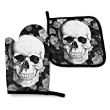 FHTDH Suministros de cocina, guantes de horno y juegos de ollas White Flowers and Skull Oven Mitts and Pot Holders,Resistant Hot Pads with Polyester Non-Slip BBQ Gloves for Kitchen,Cooking,Baking,Gril