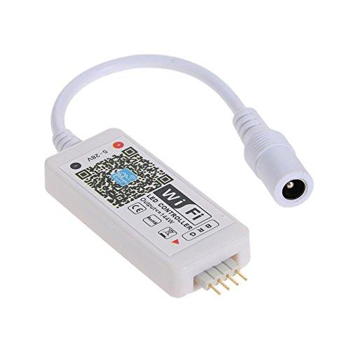 SODIAL DC5-28V Mini RGB Wifi Controlador inteligente Regulador de intensidad Salida 3 canales funcion para Aplicacion gratuita de telefono movil Android/IOS Apoya el para la luz de tira LED