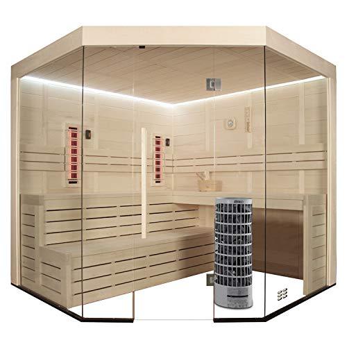 AWT Sauna E1201A-IR Pappelholz/236x236/9kW Cilindro